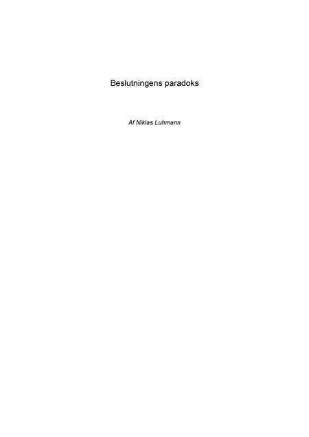 Beslutningens paradoks af Niklas Luhmann