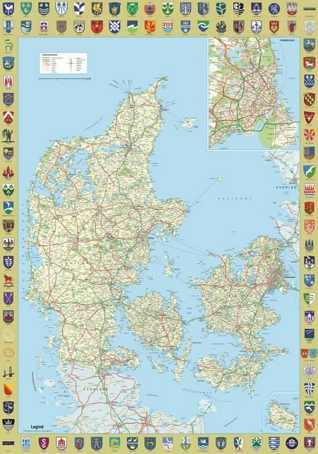 Danmarkskort med byvåben