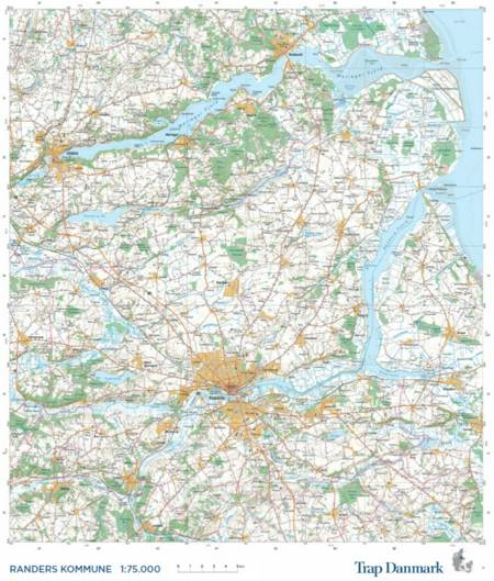 Trap Danmark: Falset kort over Randers Kommune i plastlomme af Trap Danmark
