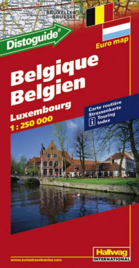Hallwag, vejkort, Belgien/Luxembourg (m/ distoguide)