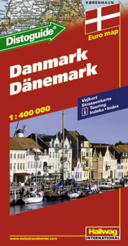 Hallwag, vejkort, Danmark (m/ distoguide)