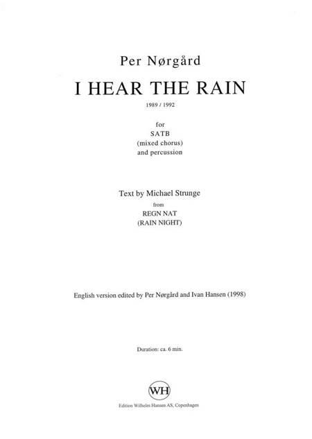 I hear the rain af Michael Strunge og Per Nørgård