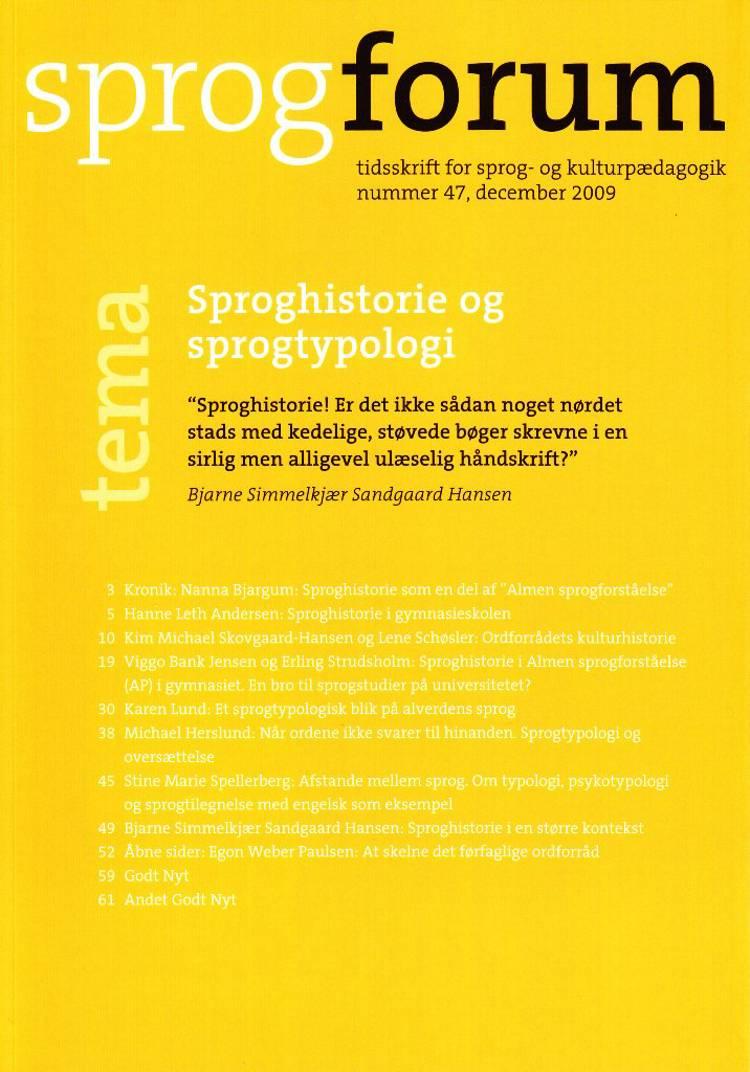 Sproghistorie og sprogtypologi af Hanne Leth Andersen, Birte Dahlgreen og Nanna Bjargum m.fl.