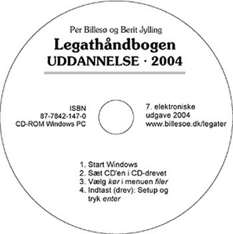 Legathåndbogen Uddannelse 2004 CD-ROM af Per Billesø og Berit Jylling