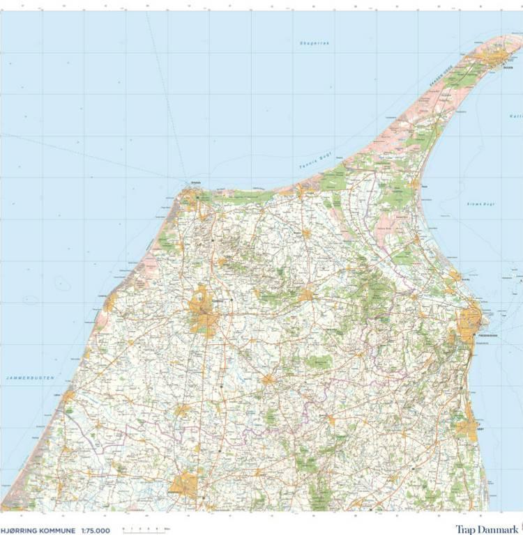Trap Danmark. Kort over Hjørring Kommune af Trap Danmark