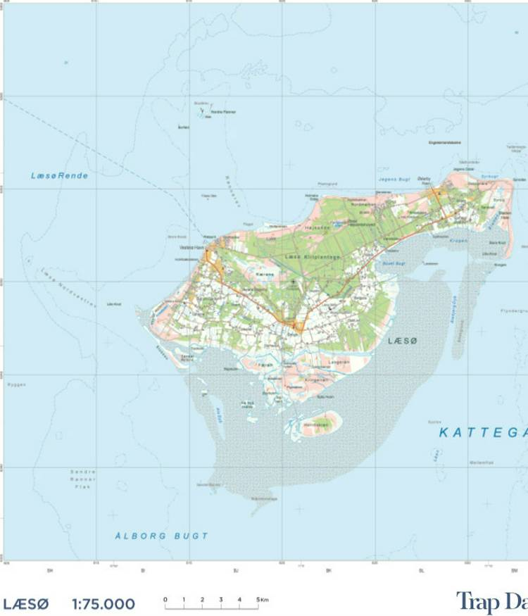Trap Danmark. Kort over Læsø Kommune