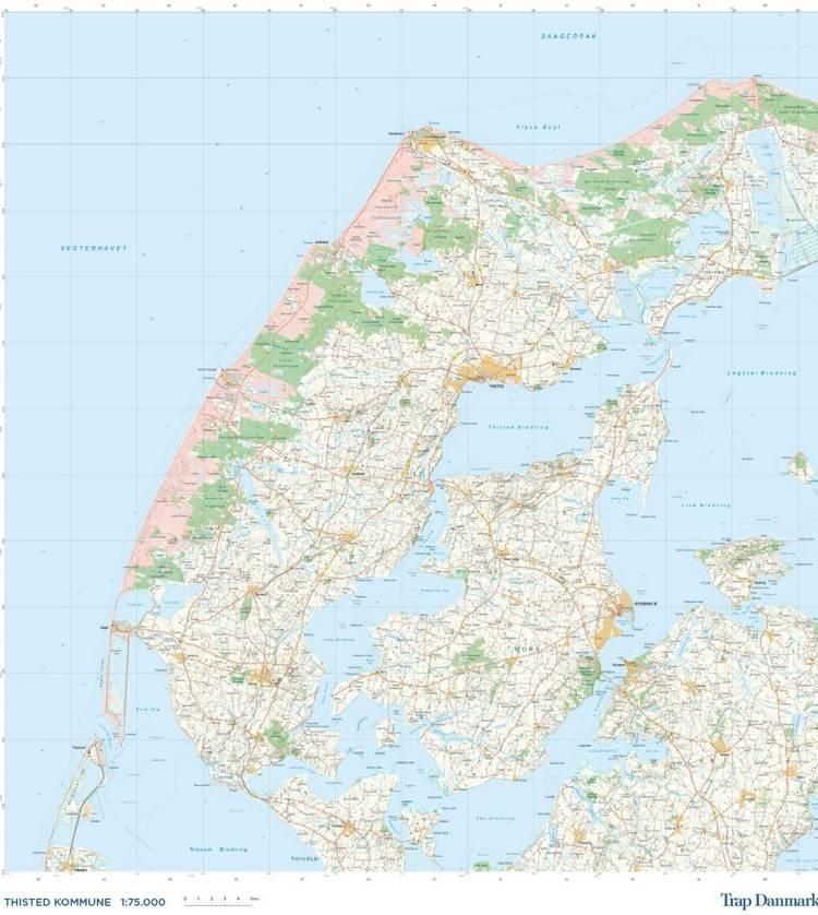 Trap Danmark. kort over Thisted Kommune af Trap Danmark
