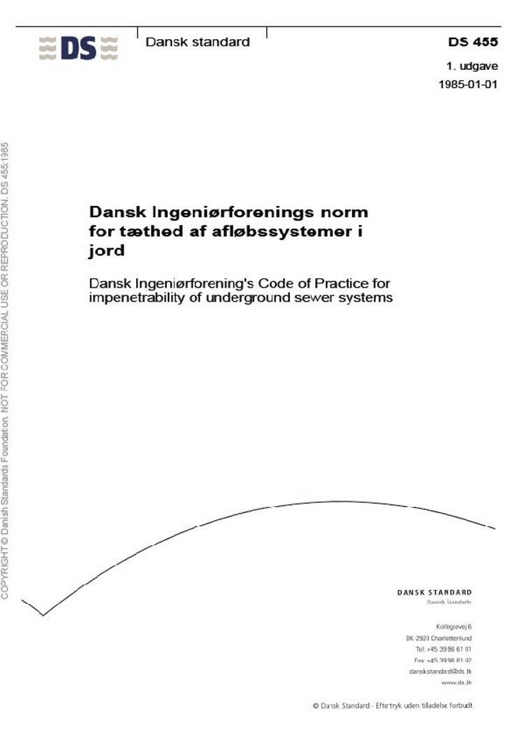 Dansk Ingeniørforenings norm for tæthed af afløbssystemer i jord
