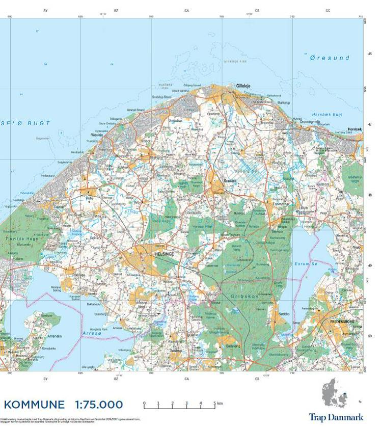 Trap Danmark: Falset kort over Gribskov Kommune af Trap Danmark