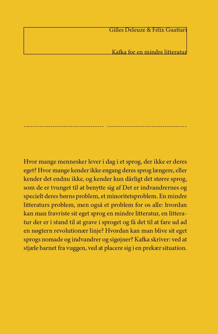 Kafka for en mindre litteratur af Félix Guattari og Gilles Deleuze