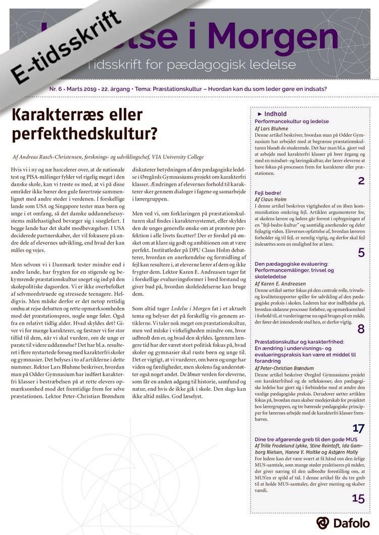Ledelse i Morgen nr. 6 - marts 2019 (e-tidsskrift pdf) af Andreas Rasch-Christensen, Claus Holm og Lars Bluhme m.fl.