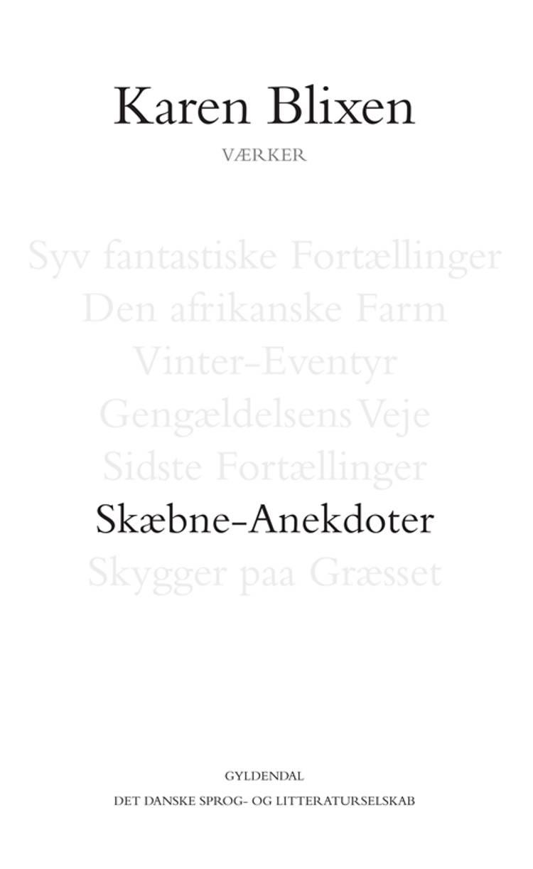 Skæbne-Anekdoter af Karen Blixen