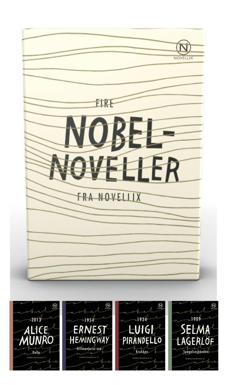 Gaveæske med fire Nobelnoveller af Ernest Hemingway, Selma Lagerlöf og Luigi Pirandello m.fl.