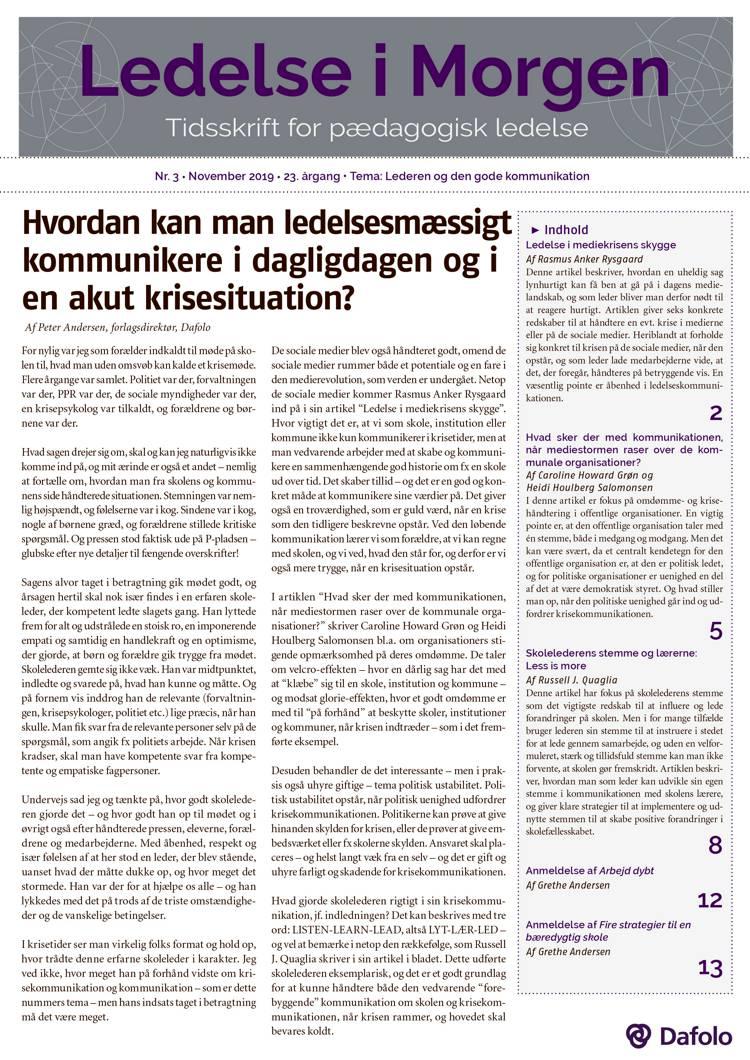 Ledelse i Morgen. Nr. 3. November 2019 (E-tidsskrift, pdf) af Grethe Andersen, Peter Andersen og Rasmus Anker Rysgaard m.fl.