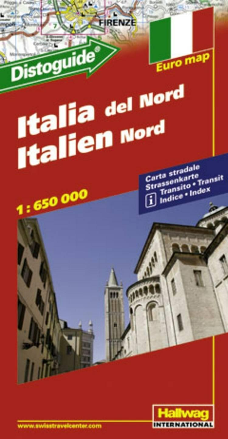 Hallwag, vejkort, Italien Nord (m/ distoguide)