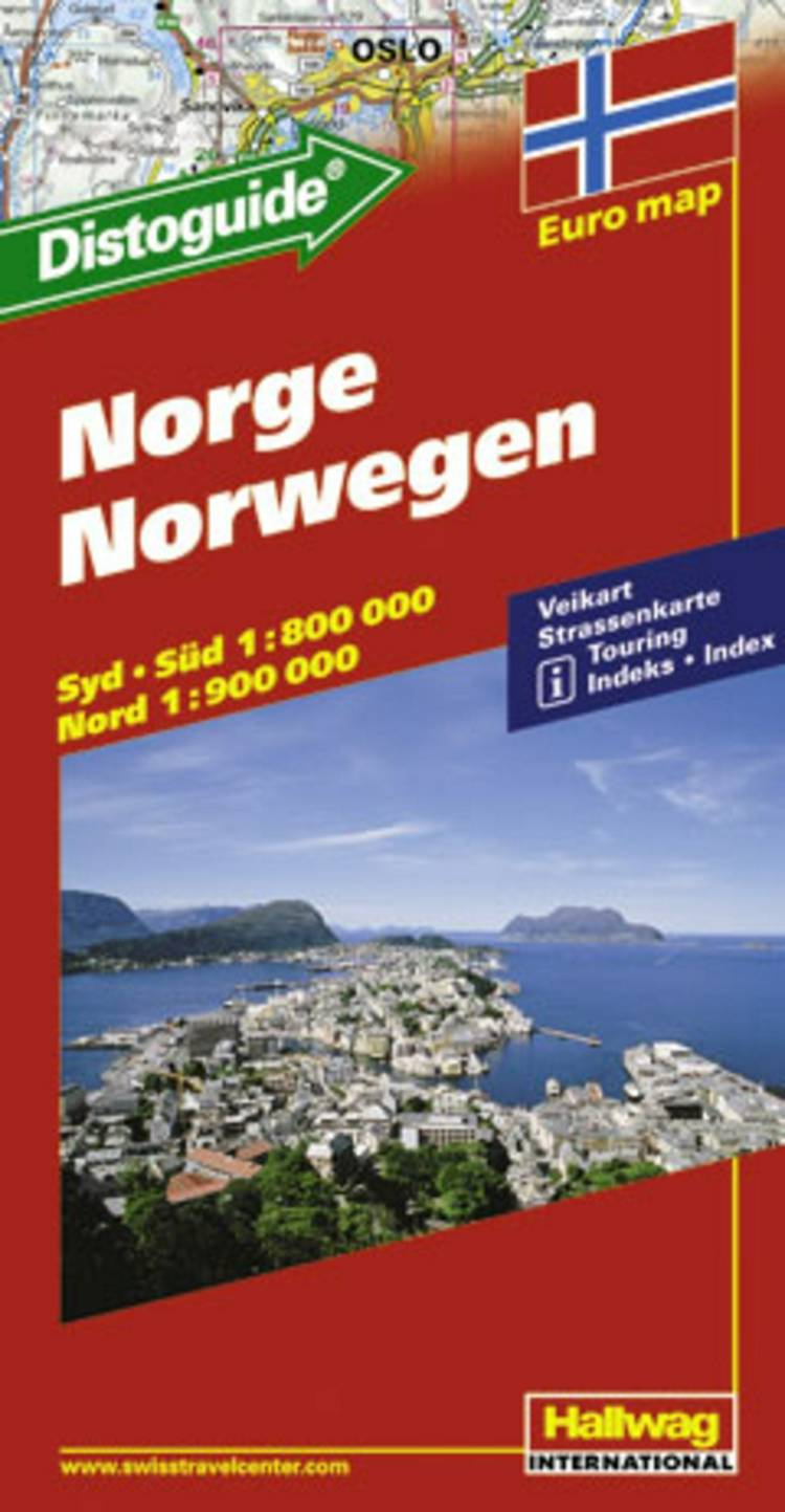 Hallwag, vejkort, Norge (m/ distoguide)